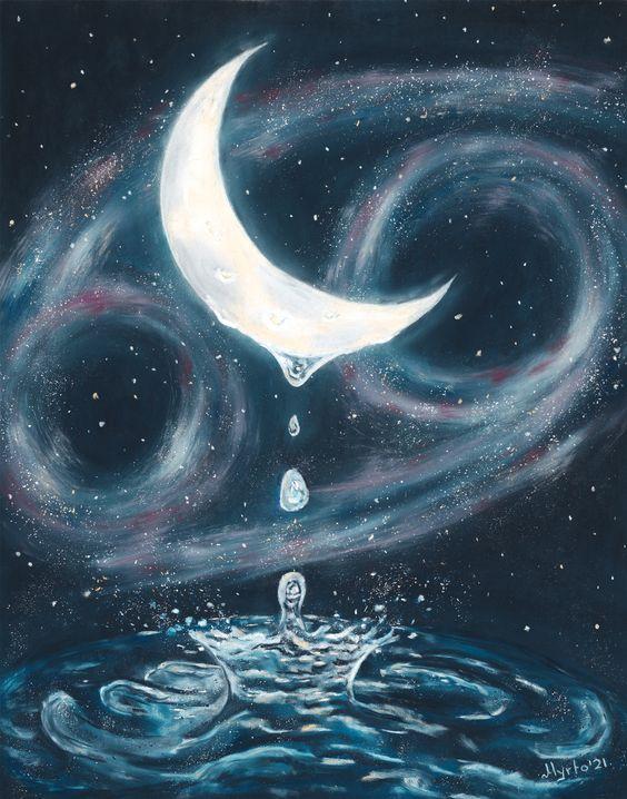 Symbool van het waterteken Kreeft, en zijn heerser de maan