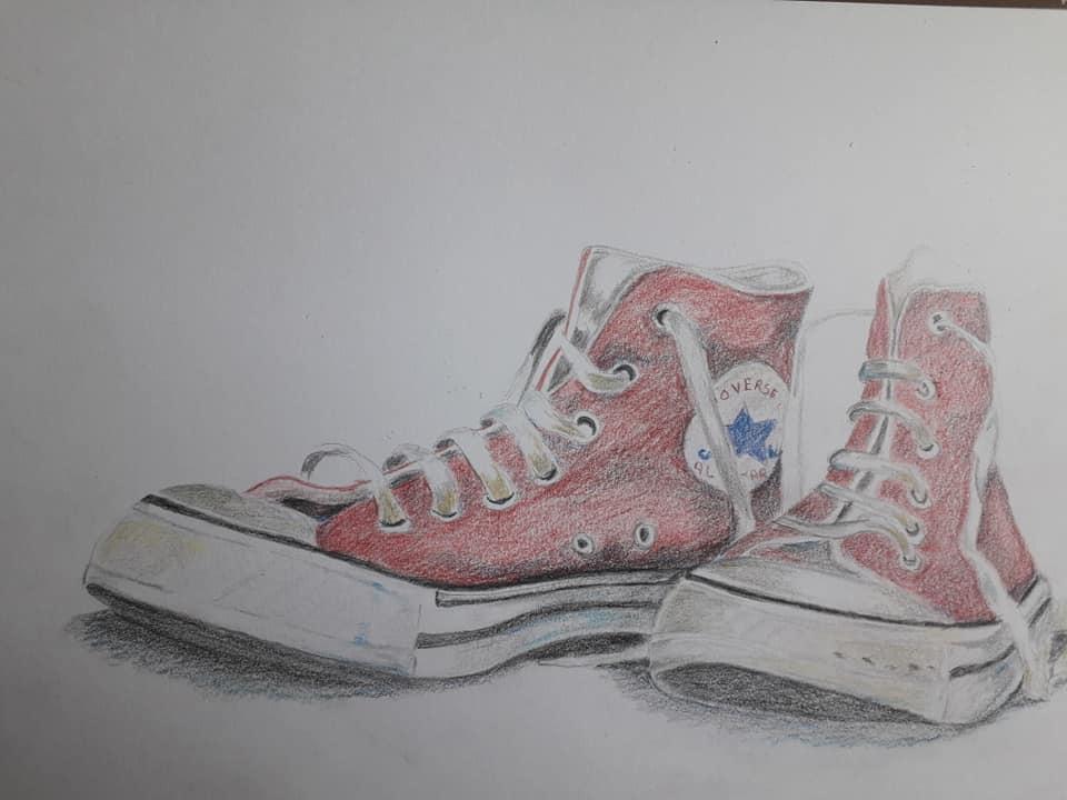 De Creatieve Bosheks: Schoenen in kleurpotlood