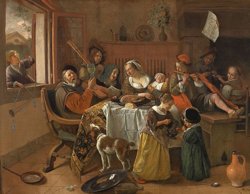 Het vrolijke huisgezin van Jan Steen met op de voorgrond het kooikershondje. Bron: Commons Wikimedia.