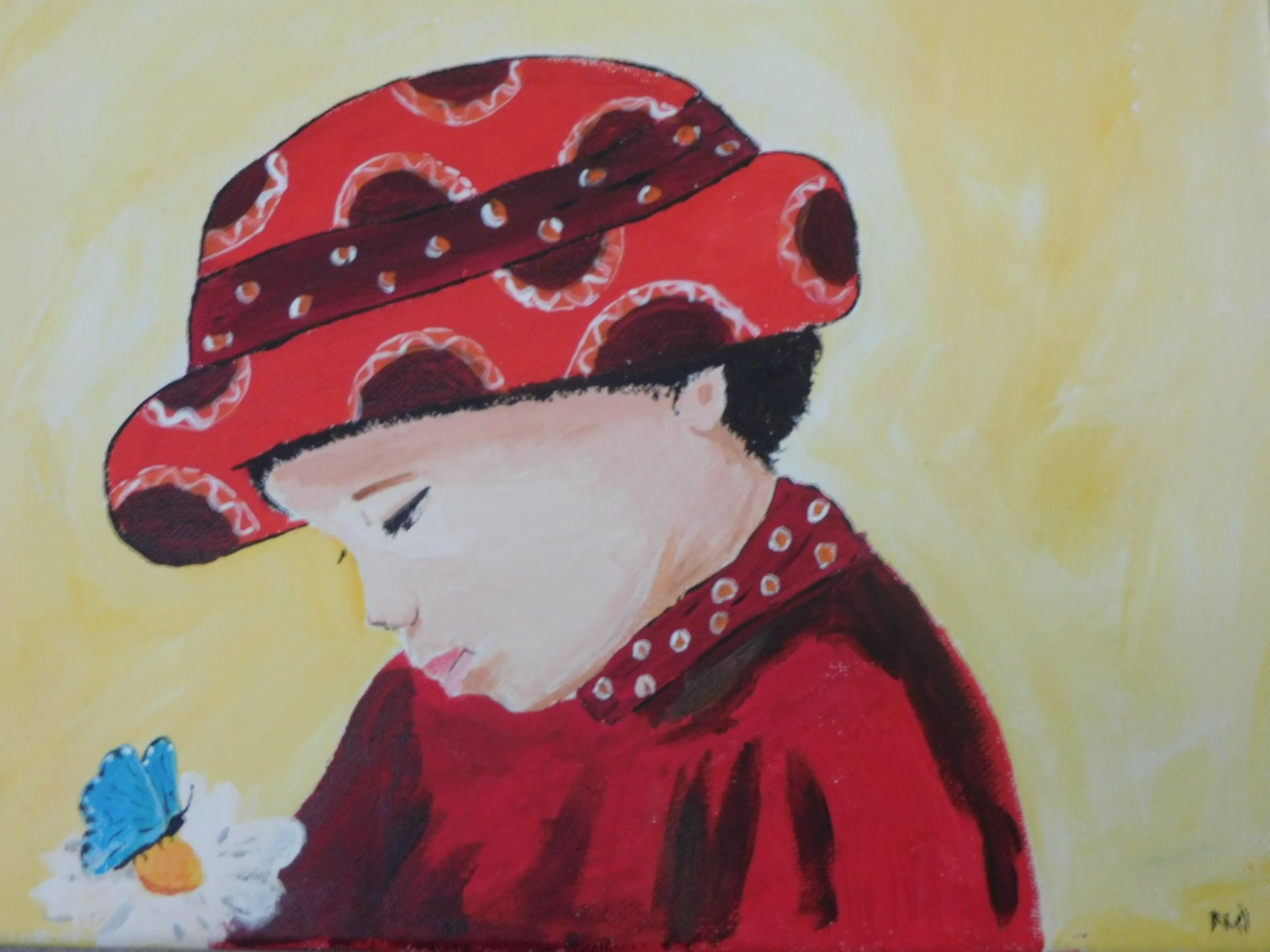 Eigen werk, meisje in rood. Geschilderd aan de hand van een gratis webinar van de Schilderclub met Corrie Leushuis