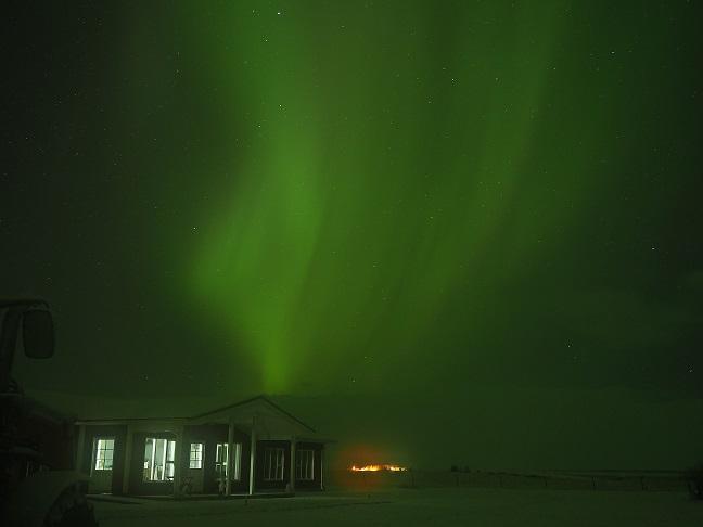 Loa's nest, Hella, IJsland, onder het licht. (eigen foto)